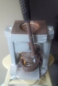 Antique Vintage Hand Press Sign Pin Machine plus others