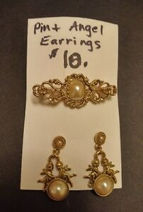 Vintage Style Pin and Angel Earrings Set; Antique Gold Plate