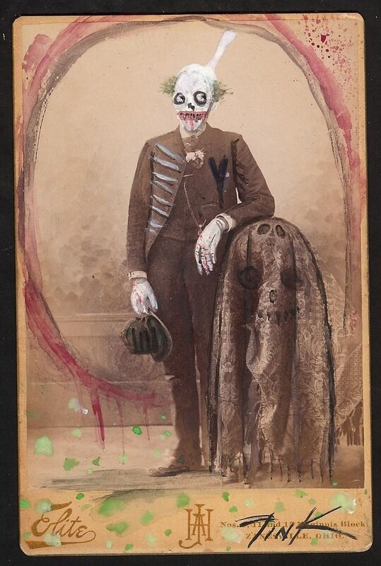 Original Art Painting Gus Fink Horror Lowbrow Modern Antique Uncle Creepy Clown