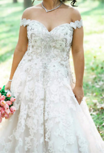 Custom Made 2017 Style Wedding Gown with Crystals