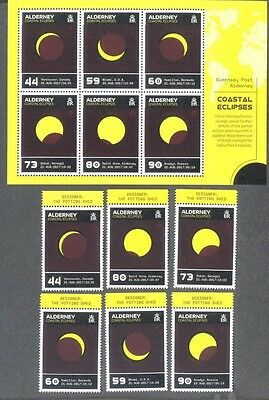 Alderney 2017 Coastal Eclipse min sheet & set-mnh