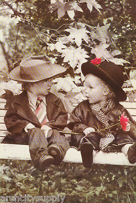 POSTER-PHOTO: MAKING FRIENDS - SMALL BOY & GIRL - FREE SHIPPING -  #3247 LW7 P ()