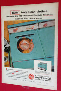1957 GENERAL ELECTRIC FILTER FLOW AUTOMATIC WASHER VINTAGE GE AD
