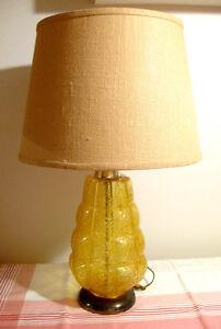Lampe vintage en verre ambré / jaune