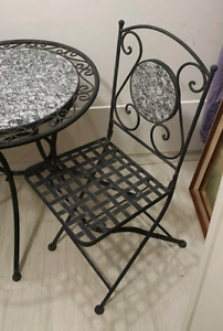 WROUGHT Iron Patio Dining TABLE w/ 2 Chairs