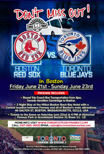 Toronto Blue Jays vs Boston Red Sox TRAVEL PACKAGE TO BOSTON