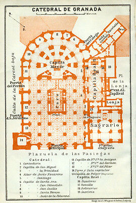 Cathedral of GRANADA : 1913 Ground Plan SPAIN old map
