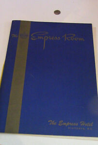 The Empress Room Menu, Victoria, B.C.1957