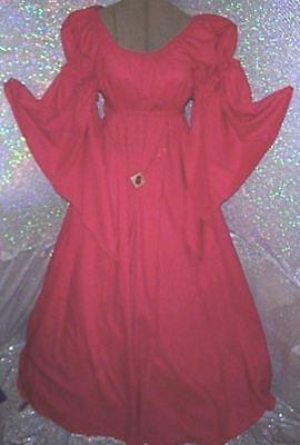 Renaissance Fantasy Costumes (RENAISSANCE FANTASY RUBY RED  CHEMISE PUFF SHOULDER & LONG SLEEVE COSTUME)