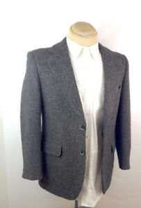 HARRIS TWEED 38 grey HANDWOVEN SCOTTISH 100% WOOL Blazer
