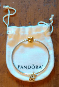 "Authentic 7.5"" Pandora  Bangle & Queen Bee Bead"