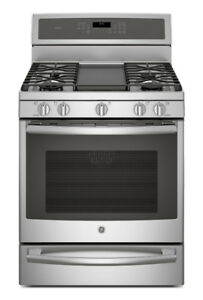 "GE Profile GAS Stove 30"" Self Clean, Conviction Stainless Steel"