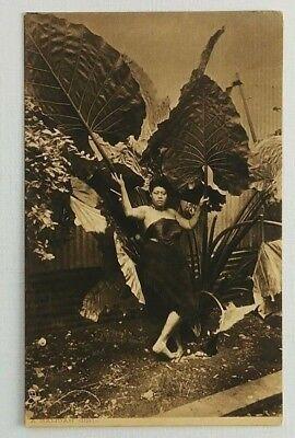 RPPC Samoan Girl Palm Fronds Postcard Tuck's England South Sea Islanders