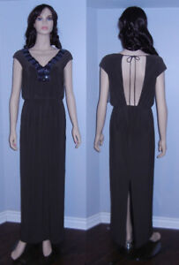 BRAND NEW: Alex & Eve Brown Beaded V-Neck Long Dress Size 6