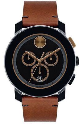 Movado Bold 43mm Steel/Leather Quartz Men's Watch 3600348