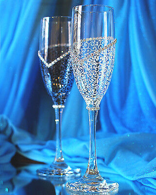 Personalized Wedding Champagne Glasses, Handmade Toasting Flutes, ...