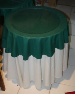 Decorative End Table with white and green cloth covers and glass