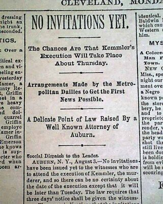 1ST ELECTRIC CHAIR Execution 1st Person Murderer WILLIAM KEMMLER 1890 Newspaper