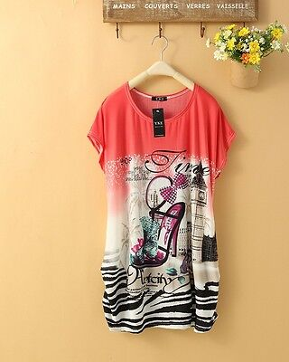New Red Bohemian Confortable Chiffon in T-Shirts Women Lady Mini dress DB0031 on Rummage