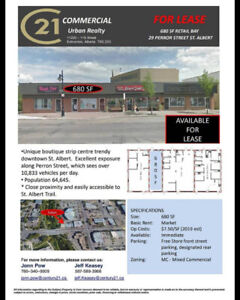 Prime Retail location for Lease in Downtown St. Albert
