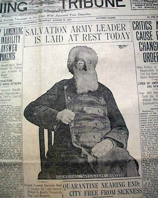 WILLIAM BOOTH Founder & 1st General of Salvation Army Death PHOTO 1912 Newspaper