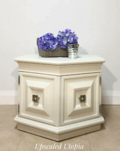 White Hexagon Side Table & Cabinet