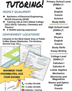 TUTOR - COLLEGE/HIGHSCHOOL/PRIMARY - GOOD AVAILABILITY & PRICES