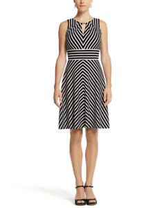 White House Black Market Striped Fit & Flare Dress NWT