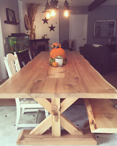 Custom Built Live Edge Dining Room Table and Bench