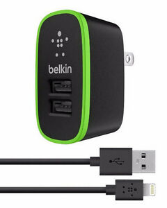 Belkin 2 Port Charger + Lightning Connector/Charger/Sync Cable
