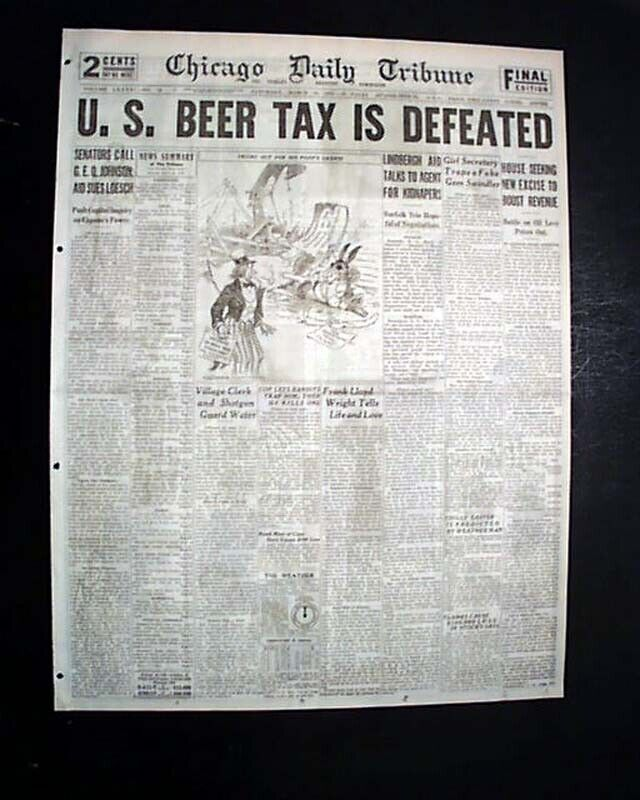 Great END OF PROHIBITION ? in Gangster Infested Chicago HEADLINE 1932 Newspaper