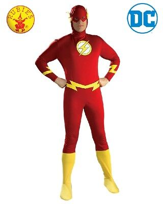 Dc Mens Dress (RD Mens Fancy Dress Costume DC Comics Licensed The Flash Super Hero Deluxe 16907)