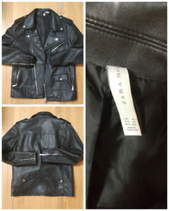 Zara men leather biker jacket