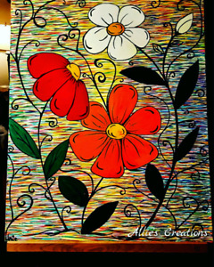 Original acrylic painting - Flowers