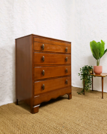 Vintage mid century art deco chest of drawers, brass handles