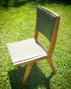 Vintage wood and vinyl chair