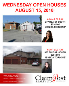 WED. AUG. 15 OPEN HOUSES - CLAIMPOST REALTY LTD., BROKERAGE