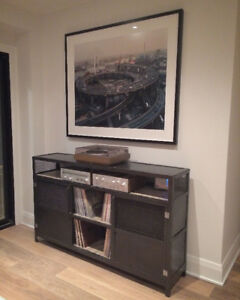 Industrial Media Console/Credenza Steel and Wood