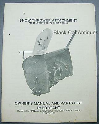 Vintage Snow Thrower Attachment Owners Manualparts List Mod-55073-76-87-90 Ef
