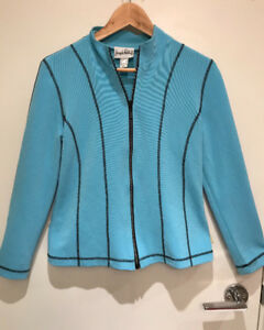 Light blue jacket with black trim and gem stone zipper, size 8P