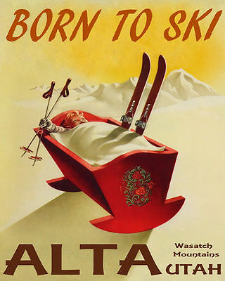 Poster Born To Ski Alta Wasatch Mountains Utah Skiing Usa Vintage Repro Free S H