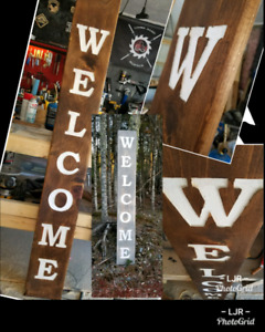 6' Carved Wooden WELCOME Signs