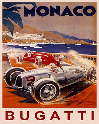 - POSTER MONACO BUGATTI FASTEST CAR STREET RACING GRAND PRIX VINTAGE REPRO FREE SH