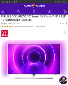 "PHILIPS50PUS8555 50"" Smart 4K Ultra HD HDR LED TV"