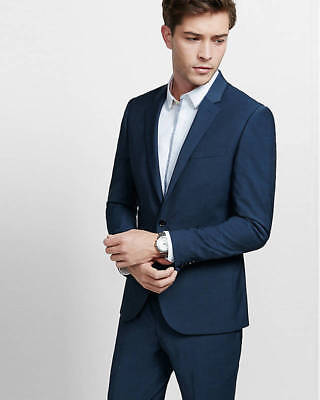 EXPRESS $298 NAVY BLUE EXTRA SLIM PERFORMANCE STRETCH WOOL BLEND SUIT JACKET 38R