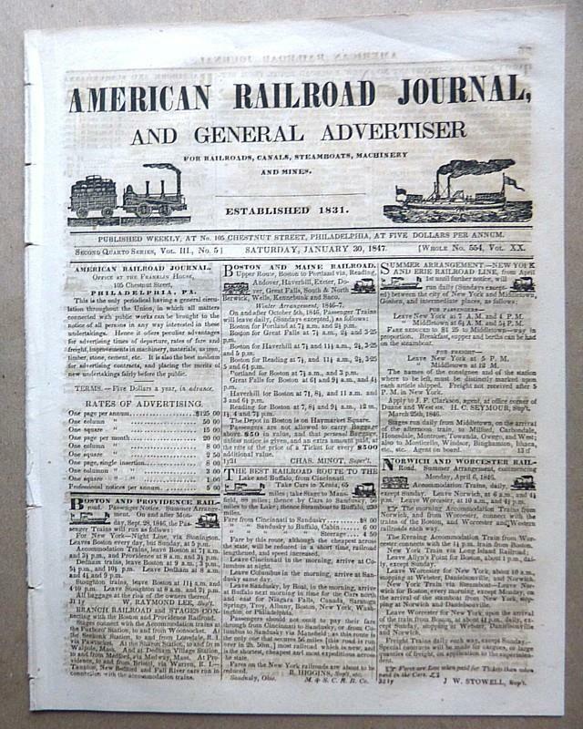 AMERICAN RAILROAD JOURNAL VOL. III, NO. 51 - JAN. 30 1847 - VERY GOOD CONDITION