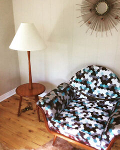 Refinished Mid-Century Floor Lamp & Table With Linen Shade