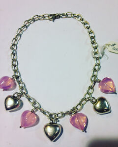 Silver Heart Necklace with silver & pink hearts $300