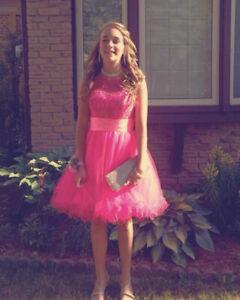 bright pink grad dress xs