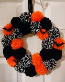 orange, black and white halloween wreath